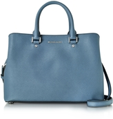 Michael Kors Savannah Denim Saffiano Leather Large Satchel Bag