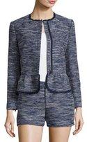 Joie Milligan Tweed Zip-Front Jacket, Blue