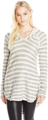 LAmade Women's OBI Raglan Stripe Hoodie Tunic