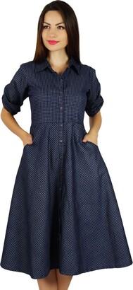Bimba Womens Buttondown Chambray Shirt Dress with Pockets Casual Collar Neck Shift Dresses Blue