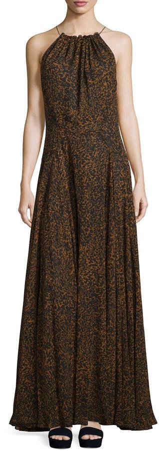 Derek Lam Sleeveless Silk Halter Dress with Drawstring, Vicuna Black