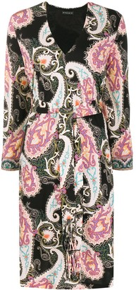 Etro All-Over Print Belted Midi Dress