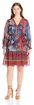 Robbie Bee Women's Plus Size Long Sleeve Dress