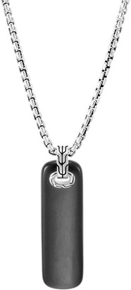 John Hardy Sterling Silver and Black Jade Chain Pendant Necklace