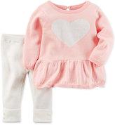 Carter's 2-Pc. Heart Peplum Sweater & Leggings Set, Baby Girls (0-24 months)
