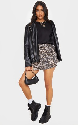 ASA Trad Tan Leopard Print Crepe Wrap Mini Skirt