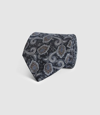 Reiss JOE SILK PAISLEY TIE Navy