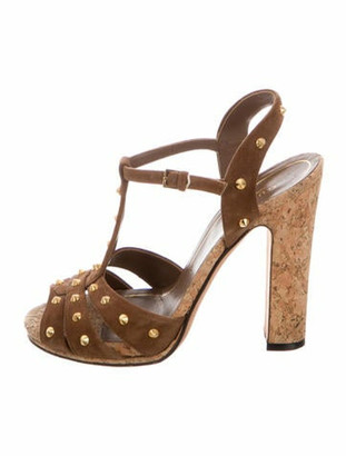 Gucci Spike Accents Suede T-Strap Sandals Brown