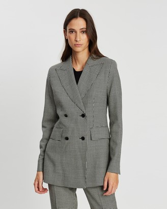 Loren Houndstooth Double-Breasted Jacket