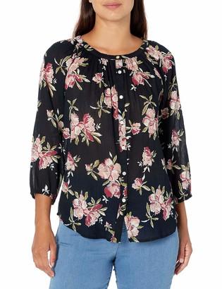 Chaps Women's Petite Floral 3/4 Raglan Sleeve Blouse