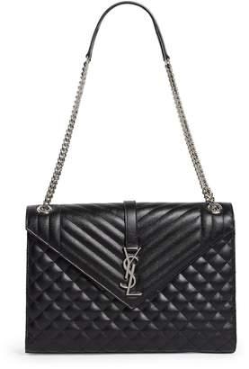Saint Laurent Large Quilted Leather Envelope Shoulder Bag