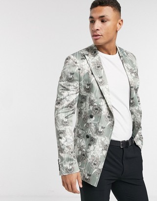 Asos Design DESIGN super skinny double breasted blazer with light floral print-Cream