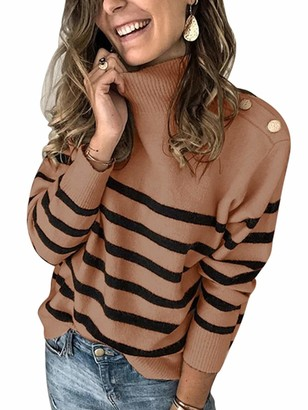 Sexy Dance Womens Turtle Neck Long Sleeve Chunky Knit Sweater Jumper Knitwear Pullover Striped Top M Brown