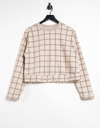 Steele check sweater in ecru