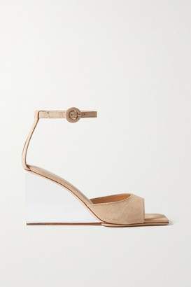 BY FAR Dima Suede Wedge Sandals - Cream