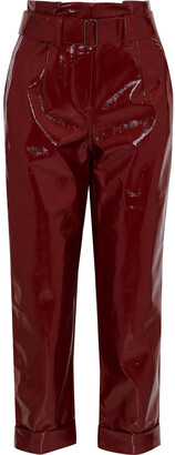 Nicholas Belted Crinkled-vinyl Straight-leg Pants