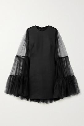 Giambattista Valli Cape-effect Crepe And Cotton-blend Tulle Mini Dress - Black