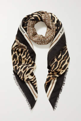 Burberry Fringed Printed Wool And Silk-blend Scarf - Beige