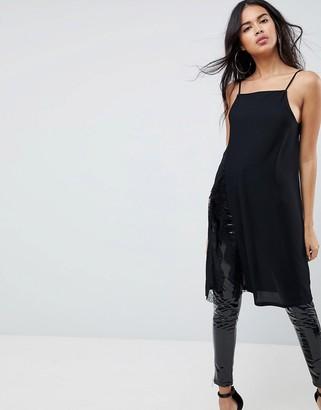 Asos Design Longline Cami With Lace Split-Black