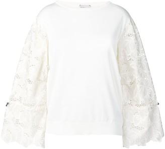Moncler embroidered floral sleeves jumper