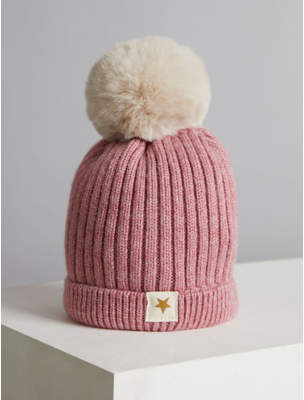 Bobble George Billie Faiers Pink Rib Knit Faux Fur Pom Pom Hat