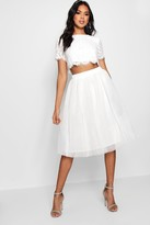 Boohoo Sophia Woven Lace Top & Contrast Midi Skirt Co-Ord