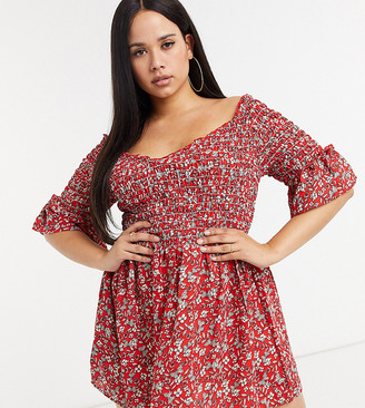 Yours frill sleeve floral printed shirred top in red