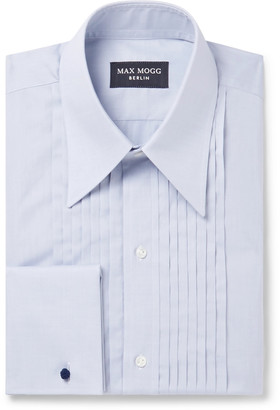 Maximilian Mogg Pleated Bib-Front Double-Cuff Cotton-Voile Tuxedo Shirt