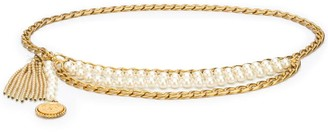 Chanel Pre Owned Pearl-Embellished Chain Belt