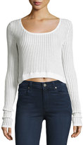 Cheap Monday Ribbed Long-Sleeve Crop Top, White