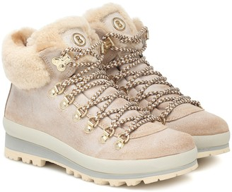 Bogner St Anton suede and shearling ankle boots