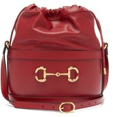 Gucci 1955 Horsebit Grained-leather Bucket Bag - Womens - Red