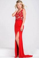 Jovani Beaded and Lace Accents V-Neck Sheath Dress JVN22426