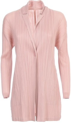 Pleats Please Issey Miyake Coat One Button Rounded Bottom