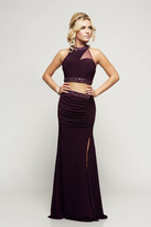 Milano Formals - Two-Piece Sheer Crop Top Evening Gown E2148