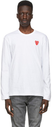 Comme des Garcons White Layered Double Heart Long Sleeve T-Shirt