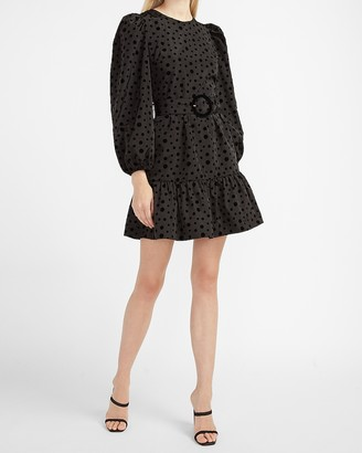 Express Belted Polka Dot Puff Sleeve Dress