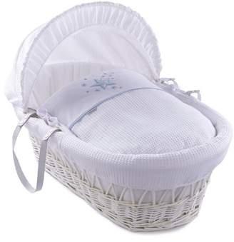Clair De Lune Stardust White Wicker Moses Basket inc. Bedding, Mattress & Adjustable Hood