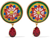 Dolce & Gabbana Gold-tone, Resin And Crystal Clip Earrings - Red