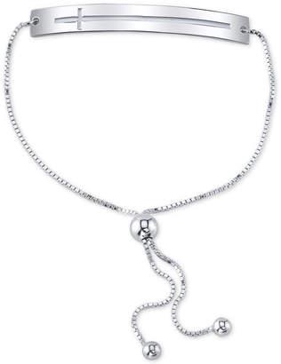Unwritten Open East-West Cross Bar Bolo Bracelet in Sterling Silver