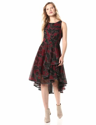 Halston Women's Floral Printed Dress with Dramatic Skirt