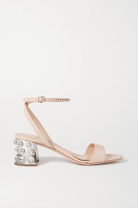 Miu Miu Crystal-embellished Patent-leather Sandals - Neutral