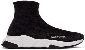 Balenciaga Black and White Crushed Velvet Speed Sneakers