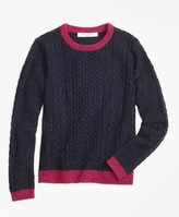 Brooks Brothers Lambswool Fisherman Cable Crewneck Sweater