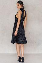 Pleated Velvet High Neck Dress