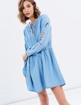 Sass Jaxson Embroidered Sleeve Dress