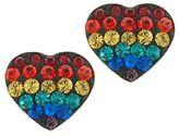 JCPenney Rainbow Crystal Heart Earrings Sterling Silver