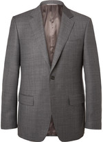 Canali Grey Venezia Slim-Fit Super 130s Wool-Sharkskin Suit Jacket
