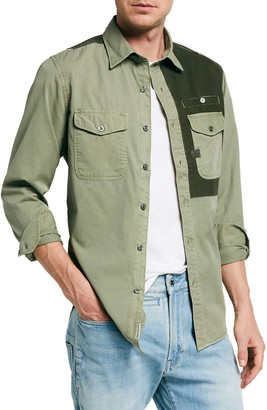 G Star Men's Strek Slim Colorblock Work Shirt