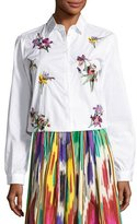 Etro Floral-Embroidered Cotton Blouse, White